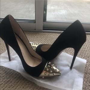 Shoes - Gold Studded black suede pumps heels